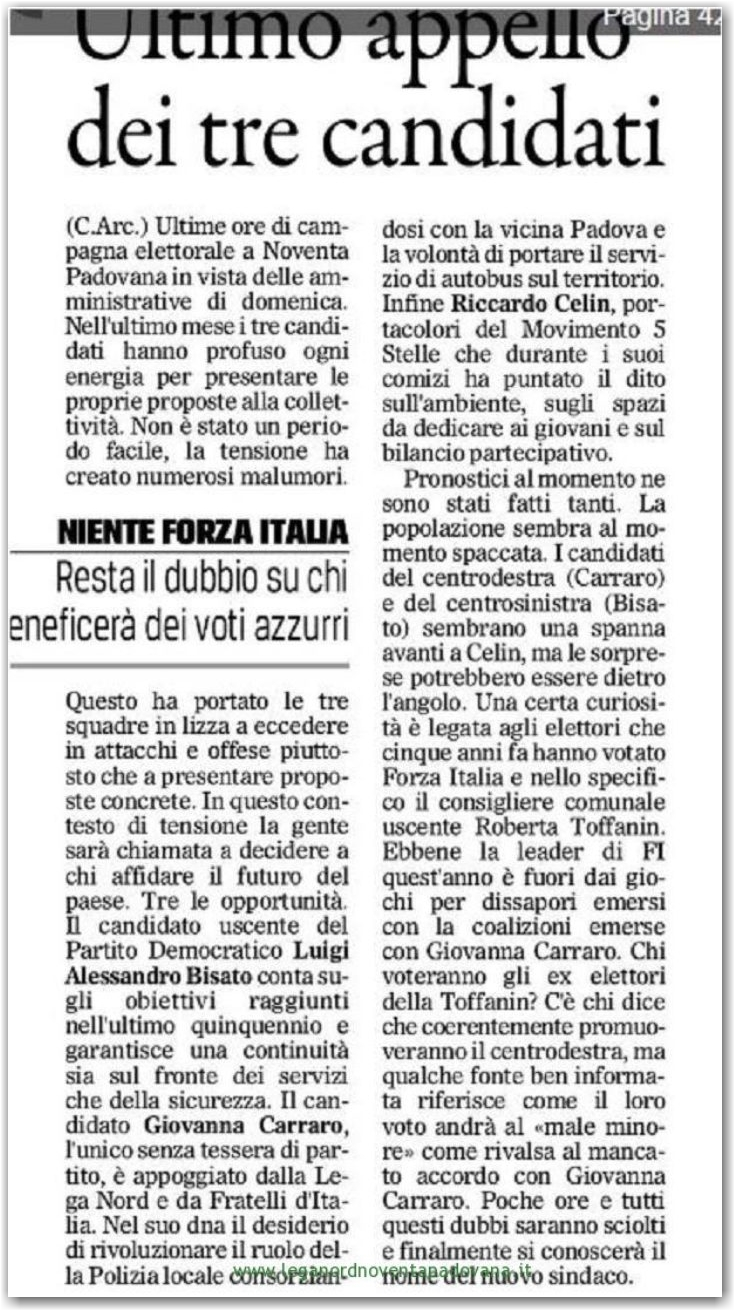 Il Gazzettino di Padova 3 giugno 2016