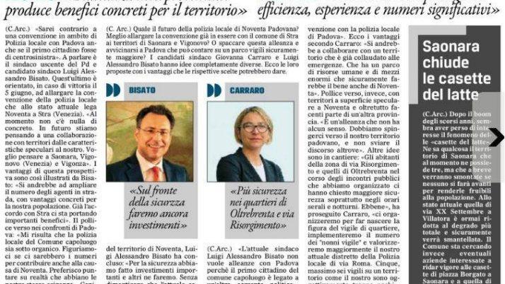 Il Gazzettino di Padova 15 maggio 2016