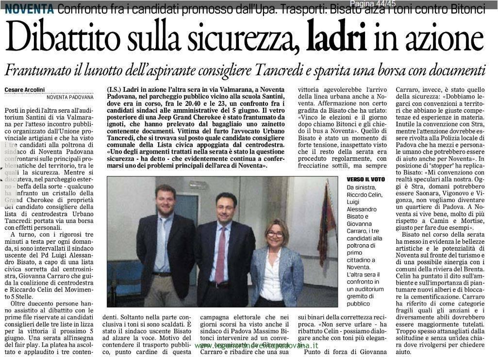 Il Gazzettino di Padova 25 maggio 2016